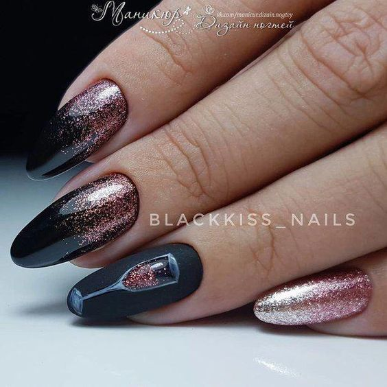 Photo of black nails with rose gold accent glitter and champagne glass