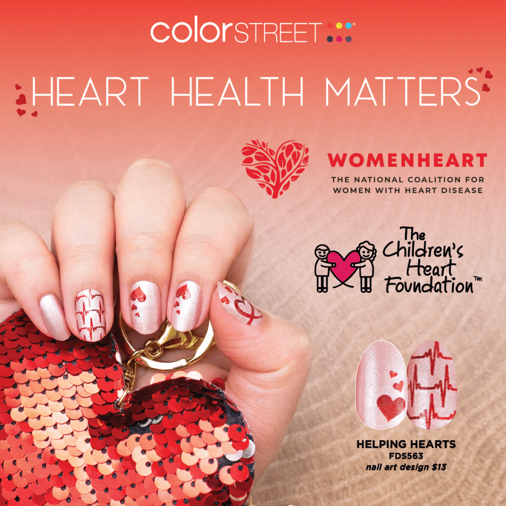 Photo flyer advertising the heart disease awareness Helping Hearts nail polish design and foundations being donated to