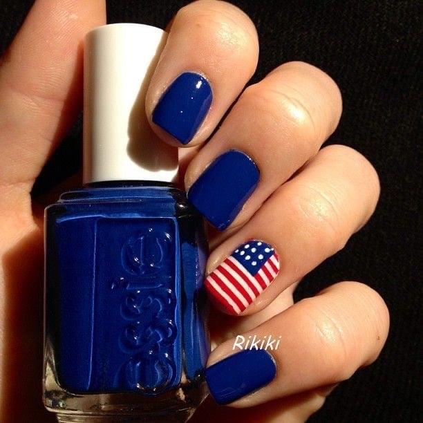 4th of July nail art blue usa flag