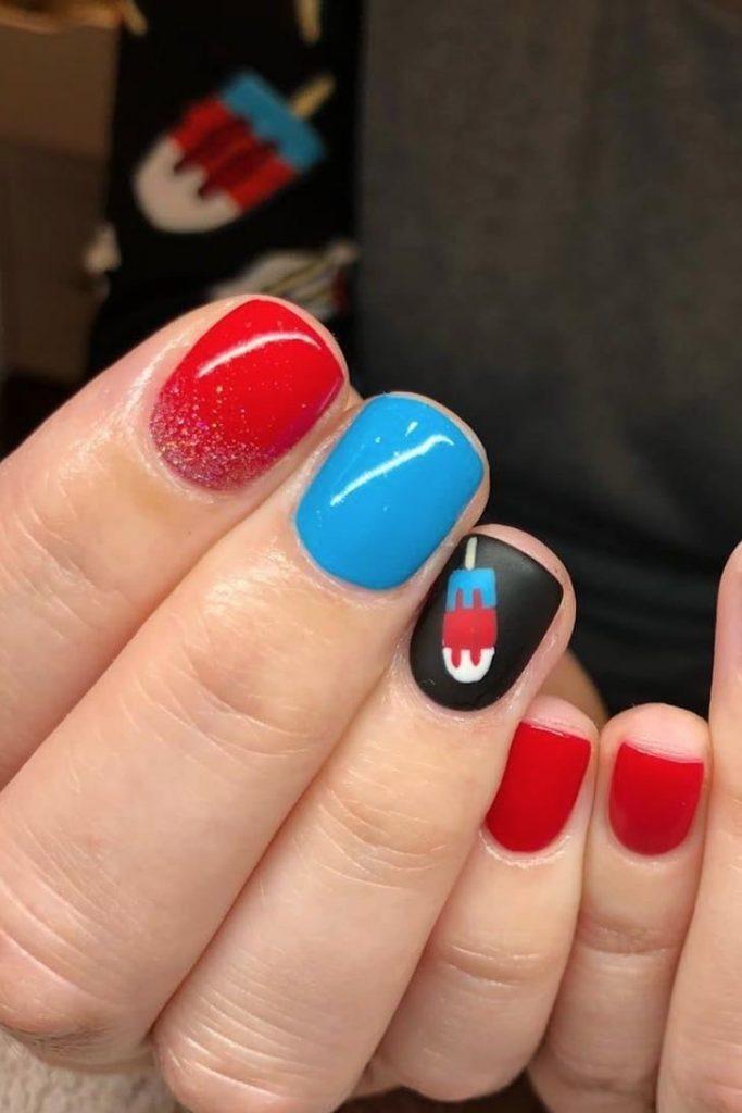 4th of July nail art bomb pop