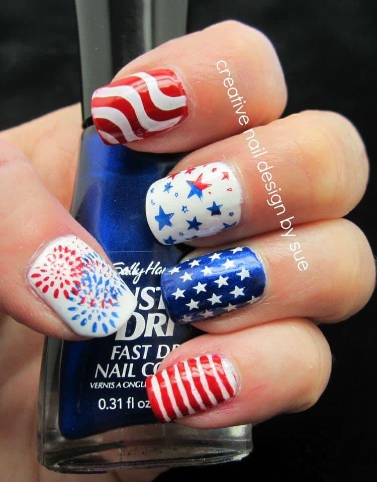 4th of July nail art stars