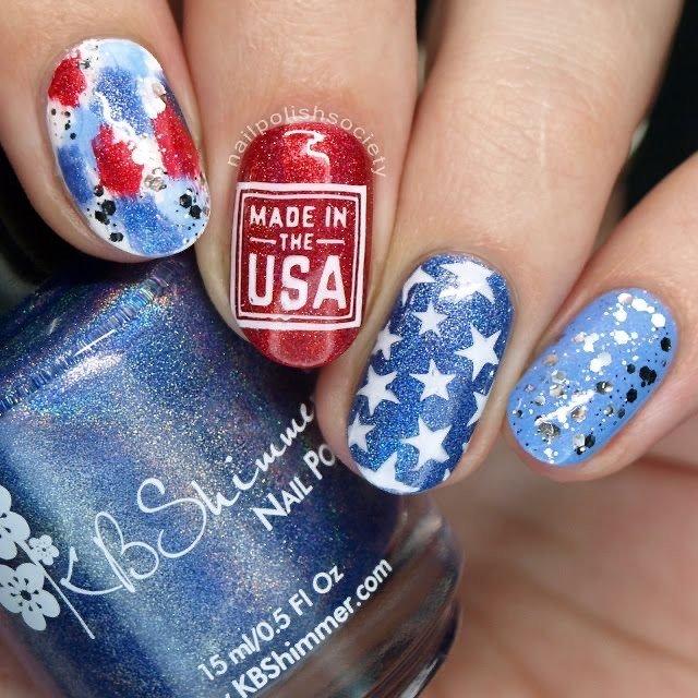 4th of July nail art stamping