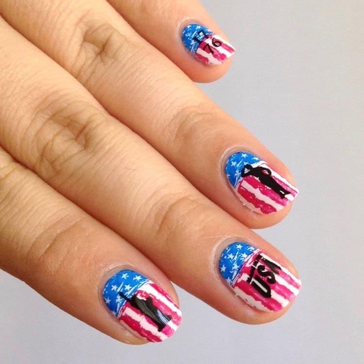 4th of July nail art military