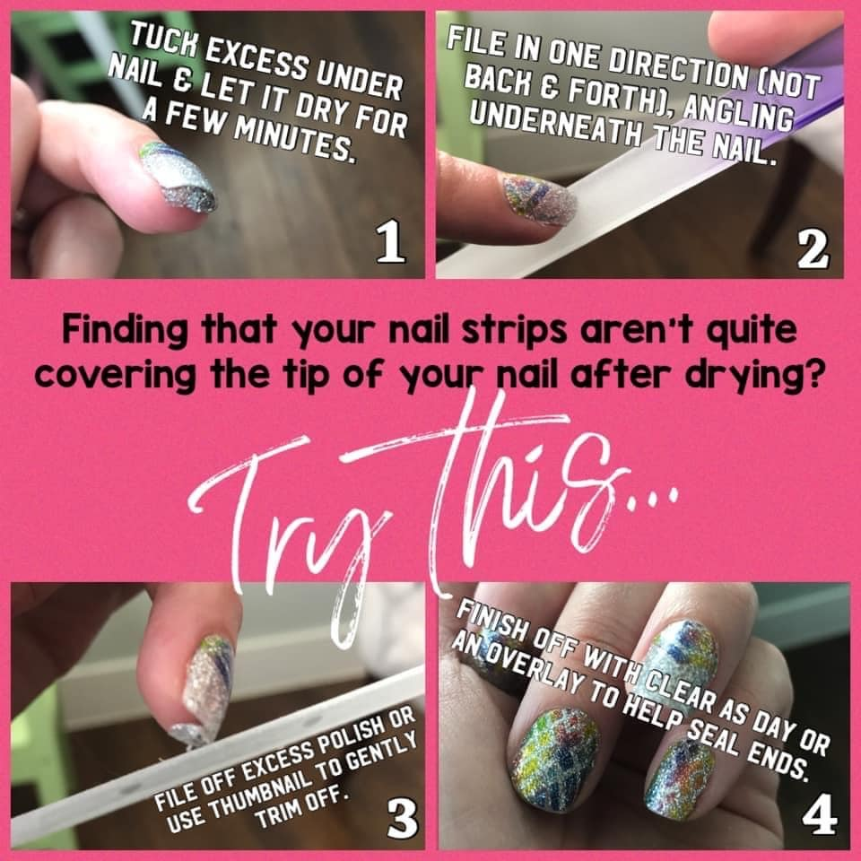 Why is there wear at the end of my tips? Tuck excess Color Street strip underneath your nail and let dry. Then file excess away.