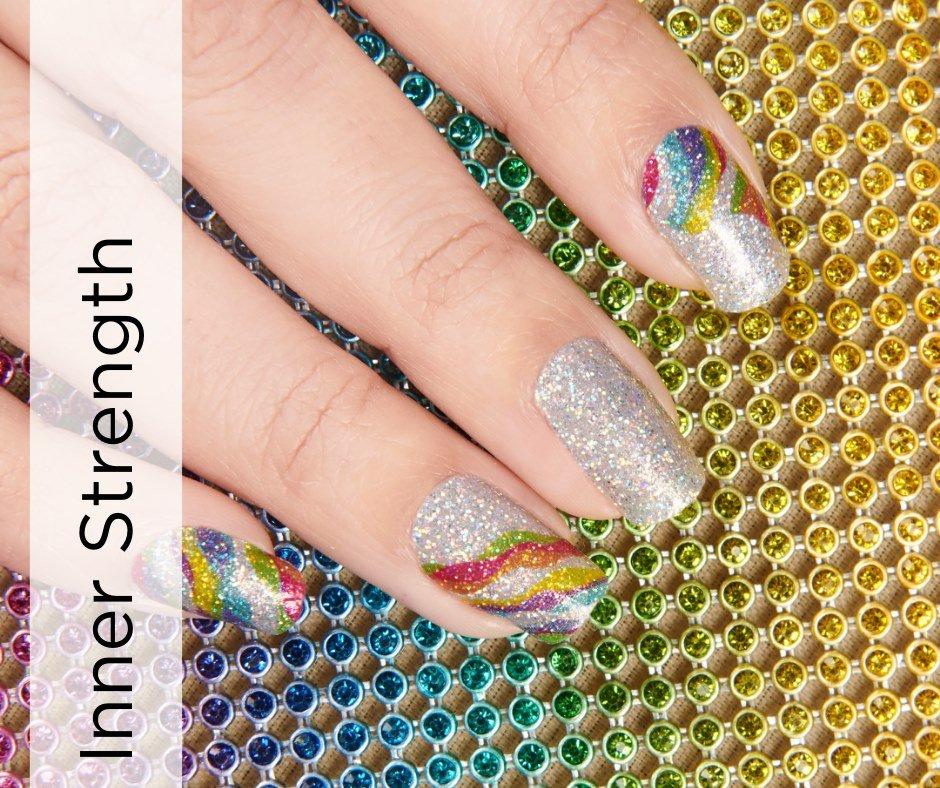 Inner Strength autoimmune disease awareness multicolored glitter design