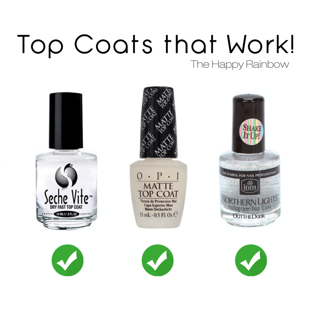 Liquid top coats that work to stop hair getting caught under nail strips